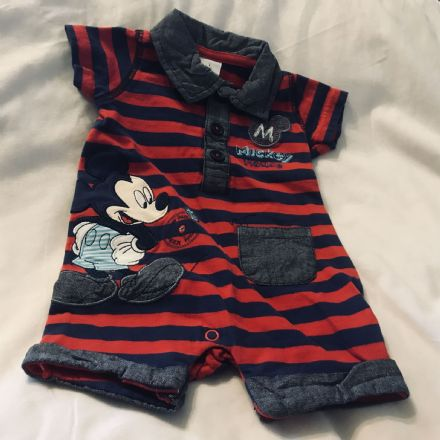 0-3 Month Navy and Red Mickey Playsuit